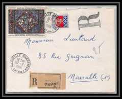 9586 Lettre Recommandé Cover Bouches Du Rhone N°142 Semeuse 35c7 + 1354B Armoirie Paris 1966 Marseille Les Chartreux - Poststempel (Briefe)