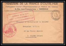 10610 Lettre Cover Bouches Du Rhone Taxe Simple Ministère D'outre Mer 1950 Marseille République Pour Stains Seine - Marcofilie (Brieven)