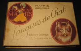 Boîte Ancienne En Carton - Chocolat MATHIS Bruxelles - Langues De Chat - 25 Avenue Louise / 15 Treurenberg - Chocolat