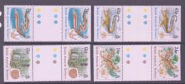 FOSSILS - BRITISH ANT TERRITORY - 1991 - FOSSILS AND DINOSAURS SET OF 4 GUTTER PAIRS MINT NEVER HINGED - Fossiles