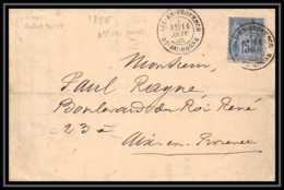 Lettre-0386 LAC Bouches Du Rhone Type Sage N°90 Aix-en-Provence Pour Aix-en-Provence Cachet TYPE 17 1884 - Storia Postale