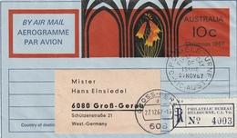 Australien / 1967 / Aerogramm Per Einschreiben Nach Gross-Gerau (3102) - Postal Stationery
