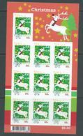 Australia 2012 Christmas 55c Reindeer Embellished Sheet Of 10 Self Adhesive MNH - Mint Stamps