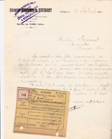 FURES DESCHAMPS DEBERNARDY ENTREPRENEUR TRAVAUX PUBLICS ET PARTICULIER ANNEE 1924 AVEC RECIPISSE - Autres