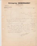 FURES DEBERNARDY ENTREPRENEUR TRAVAUX PUBLICS ET PARTICULIER ANNEE 1924 - Autres