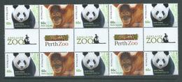 Australia 2012 Zoo Animals Panda & Orangutang Gutter Strip Of 10 MNH - 2010-... Elizabeth II