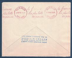 1956 - KRAG ROUGE LA FOURRURE LA PLUS BELLE DES PARURES NICE PL WILSON 21.VI.1956 ALPES MMES EN ARRIVEE SUR LETTRE - Marcophilie (Lettres)