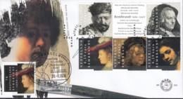 Rembrandt Gemeinschaftsausgabe BRD 2550 + NIEDERLANDE 2410-14 6erBl. Auf Brief Mit NL-Ersttagst. Und BRD-Sonderstempel - Joint Issues