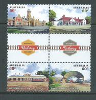 Australia 2013 Historic Railway Stations Gutter Block Of 4 MNH - 2010-... Elizabeth II