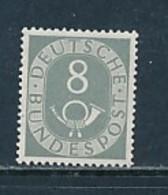 GERMANY Mi.Nr. 127 Freimarken: Posthorn  - 8 Pf  - Geprüft - MNH - [7] République Fédérale