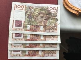 FRANCE Lot De 4 Billets Avec Les Numéros Qui Se Suivent ( Même Déchirure Sur Les 4 Billets ) - 1871-1952 Antiguos Francos Circulantes En El XX Siglo