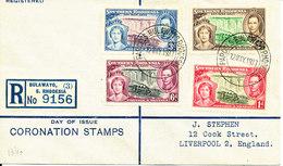 Southern Rhodesia Registered FDC Bulawayo 12-5-1937 Coronation Complete Set Of 4 Sent To England - Rhodésie Du Sud (...-1964)