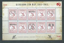 Australia 2013 $10 Kangaroo & Map Special $100 Sheetlet Of 10 Incl. Specimen & OS MNH - Mint Stamps