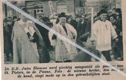 DE PANNE..1939.. E.H. JULES BLOMME AANGESTELD ALS PASTOOR VAN ST.PIETERS DE PANNE - Vieux Papiers
