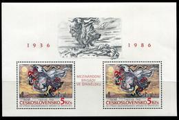TCHECOSLOVAQUIE - BF N° 72 - 50 ANS BRIGADES INTERNATIONALES 1986  * * - LUXE - Blokken & Velletjes