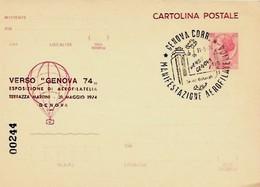 C.P. £ 40 Siracusana VERSO GENOVA 74 - Esposizione Di Aerofilatelia - Esposizioni Filateliche