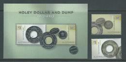 Australia 2013 Coin Holey Dollar & Dump Set 2 & Miniature Sheet MNH - Mint Stamps