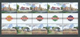 Australia 2013 Historic Railway Stations Gutter Block Of 10 MNH - 2010-... Elizabeth II