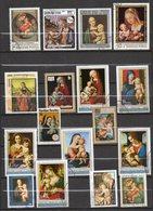 """Thème Religions-Christianisme -- Tableaux  """"Vierge à L'enfant """"--- Lot De  17 Timbres   ...............à Saisir - Christianity"""