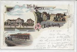 68 LUTTERBACH . Grüss En 4lithographies Dont La Gare Et L'auberge , édit : H Rosenberg Breisach , écrite ,état Extra , - Frankrijk