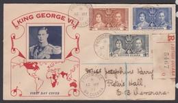 British Guiana 1937 Coronation Registered FDC - Britisch-Guayana (...-1966)