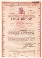 Titre Ancien - Compagnie Nationale D'Assurances Sur La Vie  - Lion Belge - Titre De 1913 - - Bank & Versicherung