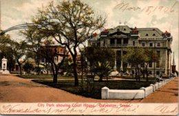 Texas Galveston City Park Showing Court House 1906 - Galveston