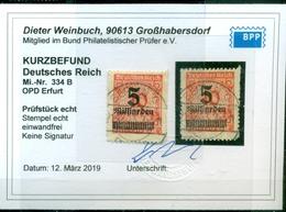 Deutsches Reich, Neuer Wert Auf Wertziffer, Nr. 334 B Gestempelt, Befund BPP - Deutschland