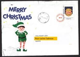 France, 2019, Egypt, ANGLAIS, Lettre Du Père-noël Avec Cachet Égyptien, Santa Claus Letter With Egyptian Postmark - Postwaardestukken