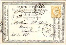 Type 15 GARE D' ARVANT Haute Loire Convoyeur Station ISSOIRE Puy De Dome Et AURILLAC Cantal Sur Carte TRES RARE !! - Poststempel (Briefe)