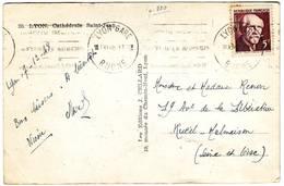 Paul LANGEVIN N° 820 Obl Seul Sur Carte De Lyon 1948 ... Rare - 1877-1920: Période Semi Moderne