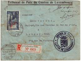 LUXEMBOURG Lettre RECOMMANDEE D' OFFICE De Service Timbre Officiel N° 142 Obl Sur Lettre Pour La France - Luxemburg