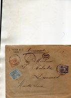 Recommandé De LYON Les Terreaux,L.S.C. Pour DUNIERES Le 24/4/96. - 1877-1920: Semi-moderne Periode