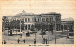 Italy Palermo Stazione Centrale Street Vintage Car Tram Postcard - Otros