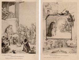 2 CPA. Par Franceschi.  La Crêche.  L'avocat Bartholo, La Tousseuse, Et Adoration Des Bergers. - Illustratoren & Fotografen