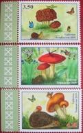 Tajikistan  2019  Mushrooms ( Butterflies, Hedgehog, Frog)  3 V Perforated   MNH - Tadjikistan