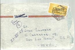 CARTA 1957 CORREO AEREO  A MEJICO  FRANQUEO INTERESANTE - 1951-60 Briefe U. Dokumente