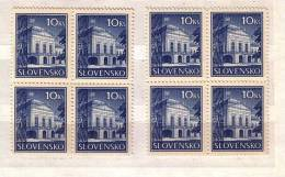 1940 - Residence Of The President, Bratislava Michel Nr.70 (x+y) 2v. – MNH Block Of Four Slovaquie / Slovakia - Ungebraucht