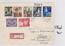 GG: Einschreiben Krakau 17 Nach Vaduz, Rückseitig V-Stempel -Selten Ins Ausland - Ocupación 1938 – 45