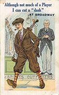 Sport Golf Player At Broadway Postcard - Postales