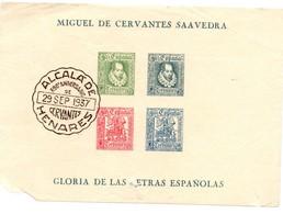 Cervantes 1937 - Alcala De Henares - !!! Défauts Dans Un Coin Et En Bas - Bloc Non Dentelé - Blocs & Feuillets