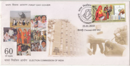 Election Commission, FDC 2010, Voter With Electronic Machine, Hologram Id , Technology, Women, Costume, Hand, Helecopter - FDC
