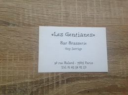 Carte De Visite De Bar Brasserie   Les Gentianes  Paris 15eme - Cartoncini Da Visita