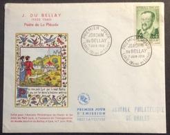 0167 Joachim Du Bellay 1166 Liré + Vignette Amis Petit Liré FDC Premier Jour 7/6/1958 Lettre AP Cholet - FDC
