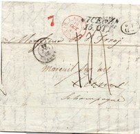 Bureau D'entrée Autr Henin 1844 - Lettre De Vicenza - Postmark Collection (Covers)
