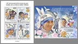 NIGER 2019 MNH Mother Teresa Nobel Peace Prize Winner Mutter Teresa Mere Teresa M/S+S/S - IMPERFORATED - DH1949 - Mère Teresa