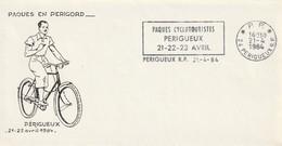 """Env. De """"Périgueux RP - 24, Dordogne"""" Du 21-04-1984, """"Paques Cyclotouristes"""" En P.P. (Port Payé) - Mechanical Postmarks (Advertisement)"""