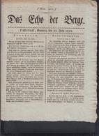 Zeitung Das Echo Der Berge Düsseldorf 1810 - Historische Dokumente