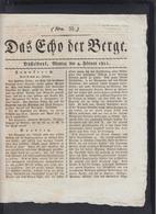 Zeitung Das Echo Der Berge Düsseldorf 1811 - Historische Dokumente