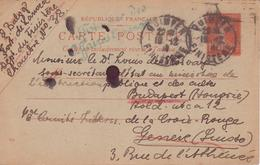 Semeuse Courrier Interné Civil Hongrois Elemer Balog France 1914 Camp Fort Lanvéoc Bretagne VALISE DIPLOMATIQUE RR - Oorlog 1914-18